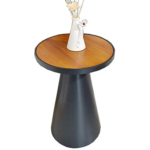 Mesa de cama, Mesas de pedestal de las mesas, mesa de centro de estilo loft, Mesa auxiliar pequeña de metal vintage, mesa redonda de sofá, sin necesidad de instalar Cafetería Color: Matte Negro, Tamañ