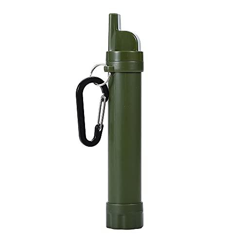 Filtro Acqua Portatile All'aperto 1500L Capacità, con Fischio, Bussola Survival Purificatore Trekking Sopravvivenza Emergenza, Lavabile e Riutilizzabile per Escursionismo Campeggio Viaggi Army Green