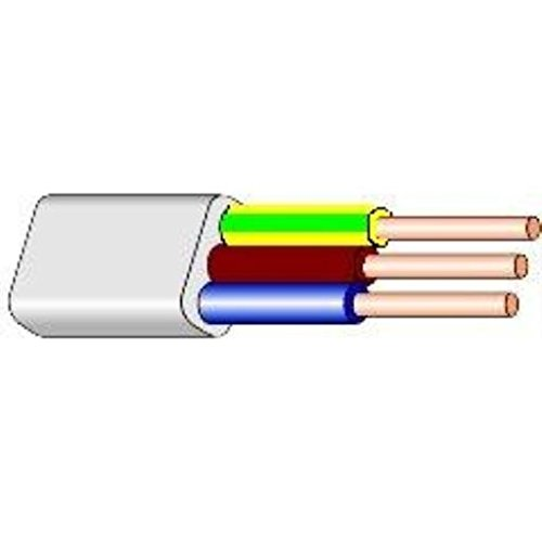 5m Flache Installationsleitung Kabel 3 x 1,5 mm YDYp flach weiß