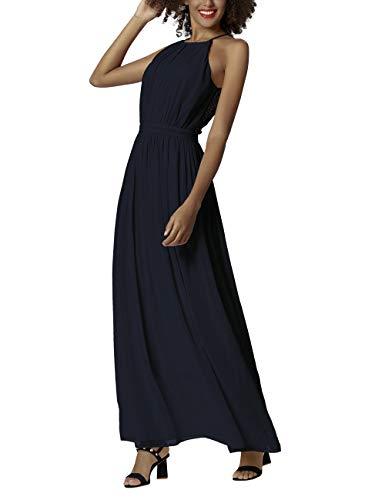APART Damen Abendkleid aus angekräuseltem Chiffon, Nachtblau, 36