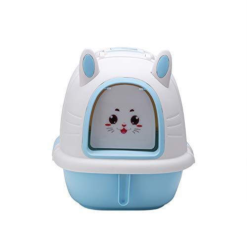 Caja de Arena para Gato Todo Cerrado con Cuchara Encantador Conejo Aseo Gatitos Antiolor Ecológico Abertura Frontal Fácil de Limpiar WC Inodoro,Blue