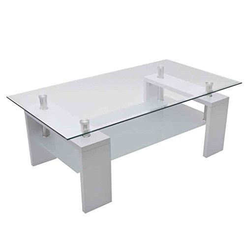 vidaXL Tavolino Basso da Salotto Rettangolare in Vetro Bianco