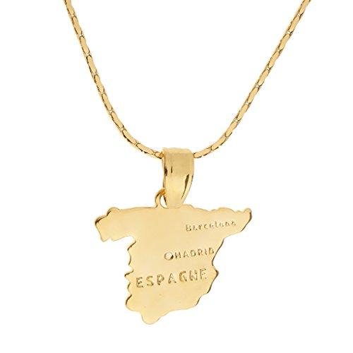 Non-brand 18K Gold Map Traveler Collar Colgante Kitsch Patriot Jewelry - Forma Mapa de España