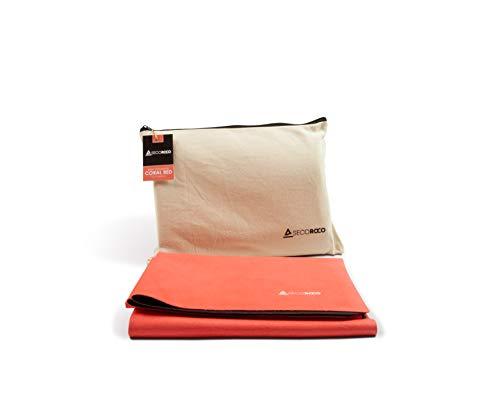 """Secoroco Reise Yogamatte """"Coral Red"""" Naturkautschuk - vegan & rutschfest - Ökologisch & nachhaltige Reisematte - Mattenstärke 1mm - Leicht faltbar, ideal auf Reisen - Inklusive Tragetasche"""