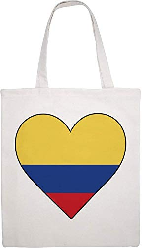 Colombia Heart Shoulder Bag Canvas Tote Bag, Reusable Grocery Shopping Cloth Bags, Double-sided Printing Tote Handbags