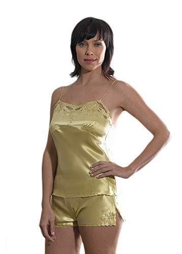 Silk Cocoon las Mujeres Mano Bordados Floral Camiseta y Shorts Set Seda Pura - D12 Oliva Verde S