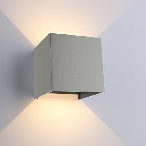 ETiME LED Wandleuchte außen Wandlampe Wasserdicht mit einstellbar Abstrahlwinkel IP65 LED Wandbeleuchtung innen Warmweiß (7W Grau Warmweiss)
