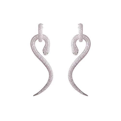 Plata 925 Pendientes Mujer, Circón Exagerado Serpentina Extraíble Clips De Oreja Hembra Europea Moda Serpiente Oreja Pin, Regalo De Fiesta Hipoalergénico Sin Plomo Espárragos Accesorio De Joyerí