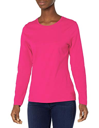 Hanes Women's Long Sleeve Tee, Sizzling Pink, Large