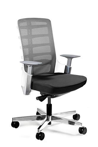 UNIQUE DESIGN FOR PEOPLE - SPINELLY M - Silla ergonomica de Oficina giratoria Silla para Escritorio construcción Blanco/Cuero marrón HL