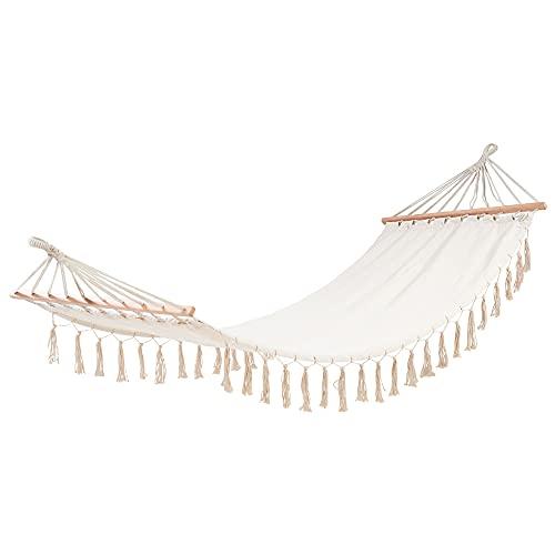 Amaca in tessuto di policotone, da appendere con traversa, colore bianco roto/ecrù, 200 x 80 cm, portata 120 kg