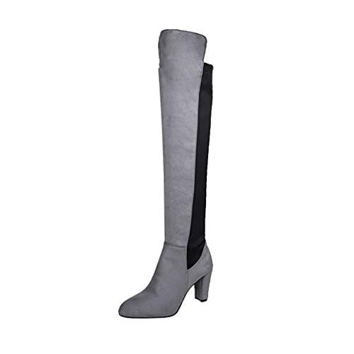UMore Botas de Invierno para Mujer Botas Altas hasta la Rodilla con tacón Medio de Bloque Botas largas de Pierna Ancha de Cuero para Mujer