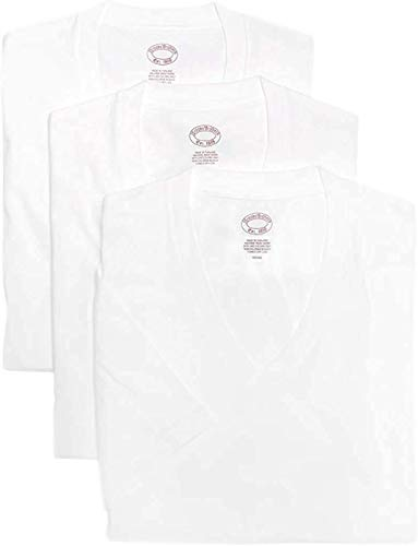 Brooks Brothers Men's 3 Pack Combed Cotton V-Neck Short Sleeve Tee Undershirt Shirt Pack White (Large)