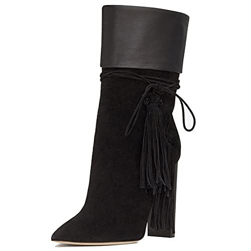 Mujer Botines de Tacón Bloque Zapatos de Tacón Alto Punta Puntiaguda Gamuza Botas Cortas al Tobillo Suede Ankle Boots Botín con Borlas Botas Altas Casual Tacones Altos,Negro,44 EU