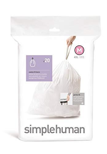 simplehuman CW0173 Custom Fit Bin Plastic (Pack of 20 Liners), Code M — 45L White, 20