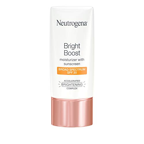 Neutrogena Bright Boost Facial Moisturizer with Broad Spectrum UVA/UVB SPF 30 Sunscreen, Brightening Oil-Free Face Moisturizer with Neoglucosamine, Moringa Seed, Vitamin C & E, 1.0 fl. oz