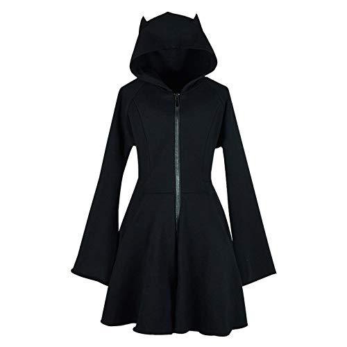 Fashion Damen Katze Ohr Hoodie Pullover Langarm Kapuzen Cute Sweatshirt Kleid Gr. Small, Schwarz