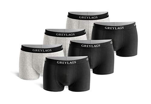 Greylags Premium Boxershorts/Retroshorts für Herren | Unterwäsche im praktischen 6er Pack | Farbe: grau/schwarz | Größe XL | Röhre Kurz