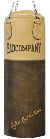 Bad Company Premium Retro Rindsleder Boxsack braun 100 x 35cm gefüllt inkl. Heavy Duty Vierpunkt-Stahlkette
