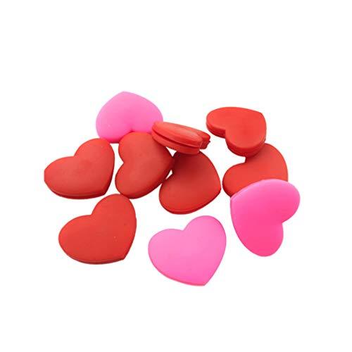 LIOOBO 10 Stücke Tennis Dämpfer Silikon Herz Tennisschläger Vibrationsdämpfer Stoßdämpfer Lustig für Alle Schlägermarken (Rot und Rosa)
