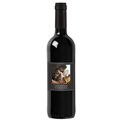 Bottiglia di Vino IGT Toscana Rosso personalizzato per lui - Idea regalo esclusiva e originale per uomo, festa del Papà, festa del Nonno, nuova nascita, compleanno e Natale. (0,75L, Foto e Testo)