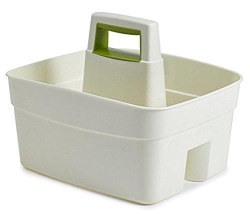 Whitefurze Kitchen Caddy con Inserto a Forma di Foglia Verde, plastica, Crema