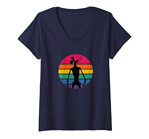 Mujer Disfraz de cabeza de sirena para niño Alien Rainbow Creepy Camiseta Cuello V