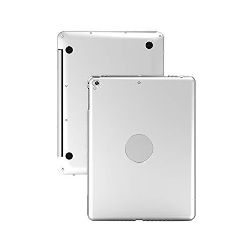 Colorful Bluetooth Tastatur Hülle für iPad 9.7 Zoll 2018 2017 / iPad Air 2 / iPad Air, Ultradünn Aluminium Schutzhülle mit Kabellose Tastatur (Silber)