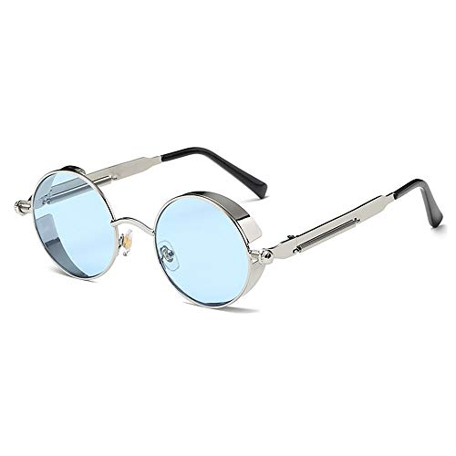 SWNN Sunglasses Gafas De Sol Azules/Verdes Retro Redondas Polarizadas Gafas De Conducción for Hombres Y Mujeres Correr Pesca Steampunk Viento (Color : Blue Lens)