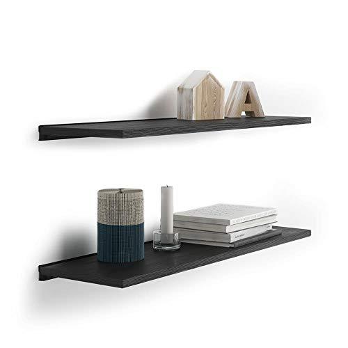 Mobili Fiver, Par de estantes 60x25 cm con Soporte de Aluminio Negro, Fresno Negro, Aglomerado y Melamina/Aluminio, Made in Italy