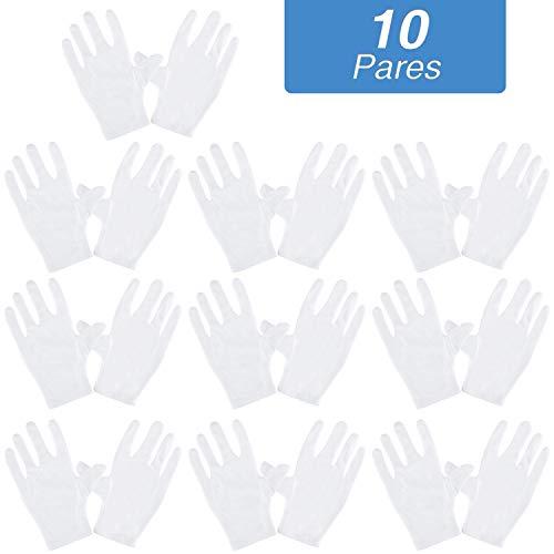 Rovtop 10 Pares Guantes de Tela de Algodón - Guantes Hidratantes Blancos de Algodón para Inspeccionar Joyas, Humectantes para Manos Secas y Trabajo Diario(XL, 9.8 Pulgadas)