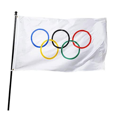 Xingying Bandera de 5 anillos de los Juegos Olímpicos de poliéster grueso para decoración de patio o balcón