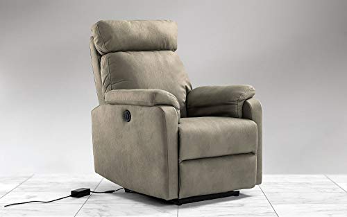 Dafnedesign.Com - Armchair with Electric Recliner cm. (98 x 85 x 108h) - Material: Faux Leather Grey