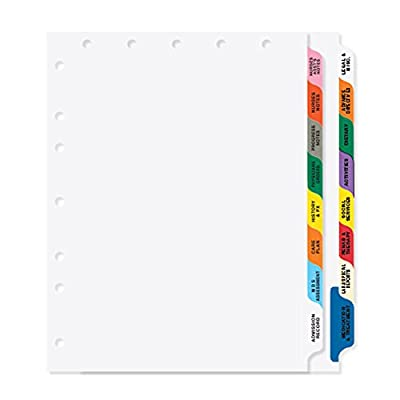"""PDC Healthcare CDP15 Chart Divider, Poly, Side Tab, 1/8 Cut, 16 Titles/2 Banks Long Term Care, 8 1/2"""" x 11"""", Assorted Colors"""