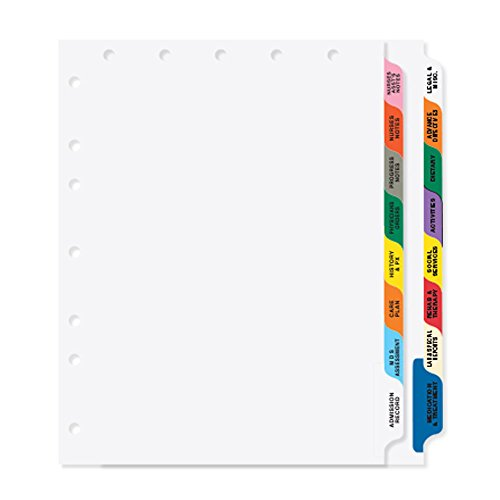 PDC Healthcare CDP15 Chart Divider, Poly, Side Tab, 1/8 Cut, 16 Titles/2 Banks Long Term Care, 8 1/2