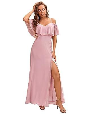 Ever-Pretty Women's Maxi Off-Shoulder Spaghetti Straps Chiffon Bridesmaid Dresses Mauve US4