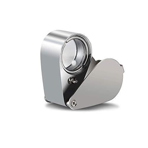 HD portátil 40 Veces K9 Lente del Vidrio óptico Lupa Plegable Fuente de luz LED joyería Reconocimiento Lupa