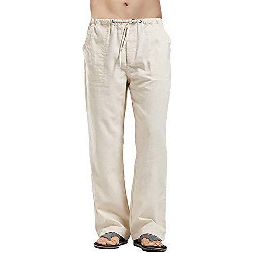 Vanvene - Pantaloni da uomo in lino, stile casual, vestibilità larga, elastico in vita con coulisse, pantaloni a gamba dritta per yoga, spiaggia cachi L