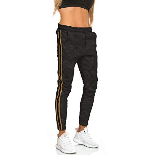 MATKA Damen Frauen | Jogginghose | Trainingshose | Sport Fitness | Gym | Training | Slim Fit | Sweatpants Streifen | Jogging-Hose | Stripe Pants | Modell 1226 Schwarz Gold M
