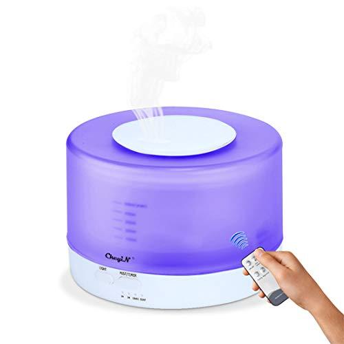 Difusor de Aceite Esencial 500 ml,Purificador/Humidificador de Aire Ultrasónico,Difusor de Aroma - Con Control Remoto - Para la Habitación del Bebé/SPA/Yoga/Masaje/Oficina,Etc