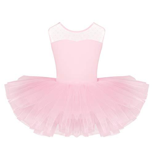 inlzdz Maillot de Ballet Niña Vestido Tutú de Patinaje Artistico Leotardo Clásico con Falda de Malla Body de Gimnasia sin Manga Disfraz Bailarina 4-10 Años Rosa 1 10 Años