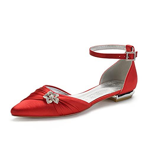 Zapatos De Boda De Novia para Mujer Dedo del Pie Puntiagudo Tira...