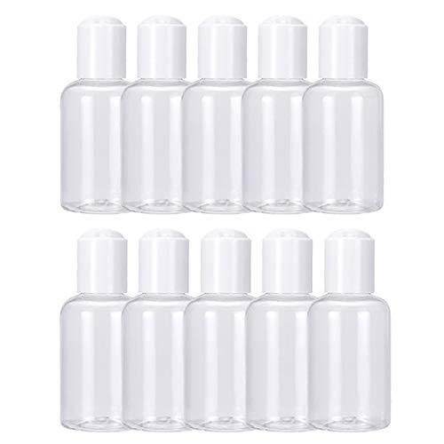 Maliwan Mini botellas de plástico recargables vacías con tapa abatible para champú, loción, tóner, jabón de manos (10 unidades)