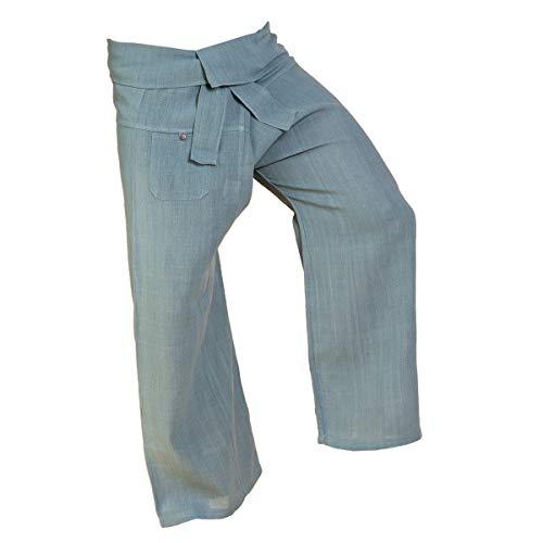 PANASIAM - Pantalones para hombre (tejido a mano, algodón natural) gris L
