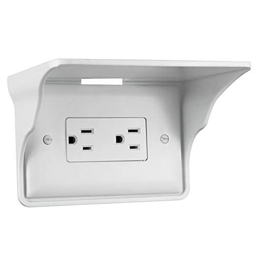 Storage Theory Power Perch Horizontal Wall Outlet Shelf. Home Wall Shelf Organizer for Outlets. Perfect for Bathroom, Kitchen, Bedrooms with Cord Management and Easy Installation. White 1-Pack