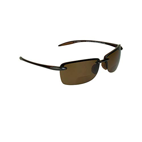 Polarized Bifocal Reading Brown Framed Arms, Brown Lens Sunglasses +2.50. Nearly Invisible Reader Line for Men and Women