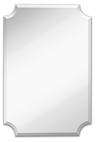 Hamilton Hills Large Beveled Scalloped Edge Rectangular Wall Mirror |...