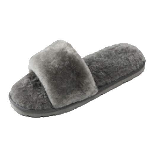 LanXi Damen Elegantes Bett Hausschuh Warmer Plüschfell flip Flops Baumwolle Pantoffel rutschfeste Schuhe Wollpantoffeln