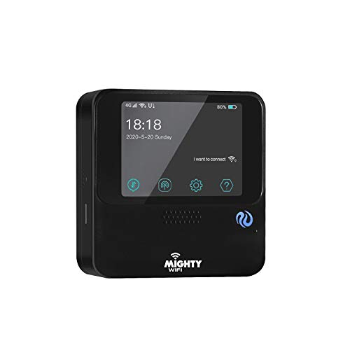 MightyWifi Cloud Black WiFi 4G LTE Hotspot w/US 50 GB & Global 3GB Data 30 Day, Pocket Mifi, Personal, Reliable, Mobile Cellular M1, Router, No Sim Card, Roaming, Home, Travel