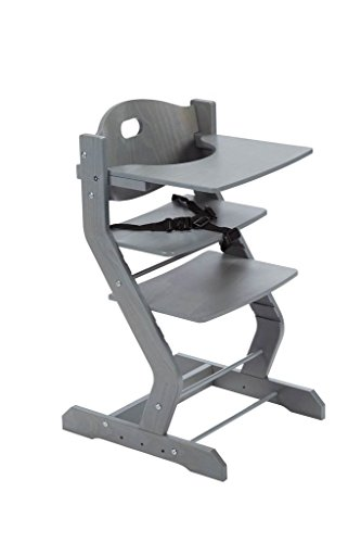 tiSsi Hochstuhl in Grau inkl. Brustbügel, Gurt und Tischplatte